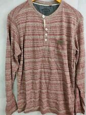 Men's Twisted Soul long sleeve top red buttons round neck size large  cotton