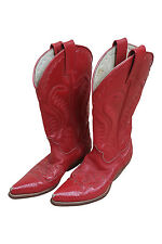 *SANTANA* RED LEATHER COWBOY BOOTS (40)
