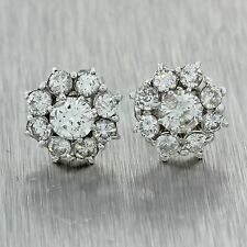 Vintage Estate 14k Solid White Gold 1.80ctw H/SI1 Diamond Halo Stud Earrings