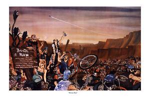 Dave Mann Ed Roth Studios Print Poster Motorcycle Booze Run Chopper