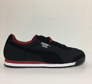 Nwob Mens Puma Roma Black/Rio Red Sneaker Lace Up Size 13