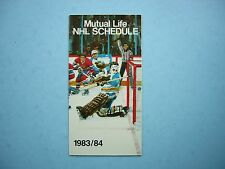 1983/84 MUTUAL LIFE OF CANADA NHL HOCKEY SCHEDULE
