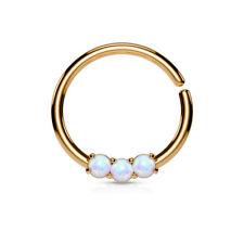 Opal 14K Gold Plated Surgical Steel Bendable Cartilage Hoop Septum Nose Ring 16G