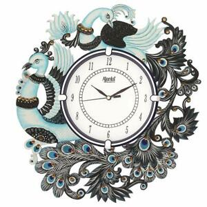 Antique White Glass Analog Wall Clock Handpainted Peacock Style Wall Mount Decor