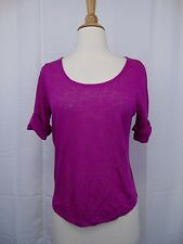 LAUREN Ralph Lauren Petite Knit Linen Jersey Top PS Wild Berry Purple #3242