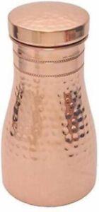 Hammered Matt Finish Pure Copper Bedroom Bottle With Inbuilt Glass 1000 Ml