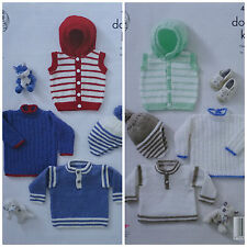 KNITTING PATTERN Baby Jumpers 2 styles Striped Hoodie & Helmet DK King Cole 4888