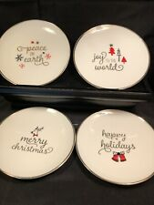 """Clay Art Holiday Plates Gold Trim Set of 4 -6"""" Appetizer/dessert Plates"""