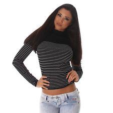 Sexy langarm Shirt Pullover gestreift Streifen Weiß  Größe 34 36 38