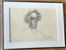 WEISBUCH Claude -Grand Auto-portrait, dessin à l'encre, signé, encadré