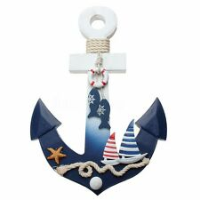 Wooden Nautical Anchor Wall Hanging Hook Ship Starfish Decor Coat Door Rack