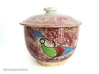Antique Staffordshire Red Spatterware Floral Art Pottery Peafowl Sugar Jar