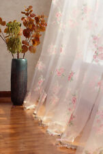 1 PC Elegant Country Style Pink Flower Sheer Voile Curtain Panel Drape