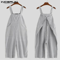 Vintage Striped Men's Dungarees Trousers Baggy Jumpsuit Overalls Work Pants NEW