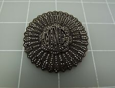 Antique 925 Sterling Silver Handmade INITIAL MNE Brooch Pin W/ Marcasite 21.0GR