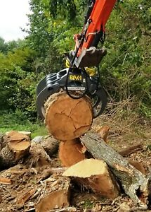 Fixed Mount Log Grapple with 360 degree Hydraulic Rotation for Compact Excavator