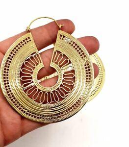 LARGE GOLD PLATED VINTAGE AFGHANI BRASS HOOPS EARRINGS TRIBAL BOHEMIAN EARRINGS