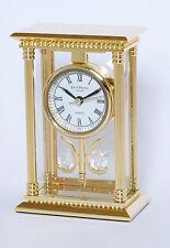 MANTILLE / horloge de bureau - 24K plaqué or laiton massif - 2 x Boules cristal