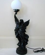 "NEW 31""H-BLACK RESIN NUDE NAKED ANGELS+WINGS,TORCH GLOBE GLASS LIGHT TABLE LAMP"