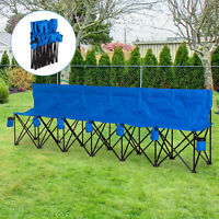 Outsunny Football 6 Seater Folding Sports Bench  w/ Cup Holder & Carry Bag Blue