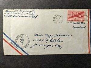 ARMED GUARD Ship SS WILLIAM H. DALL Naval Cover 1944 Censored WWII Sailor's Mail