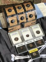 Medium Wooden Pirate Treasure Chest With REAL Spanish Cob Coins + 1 SILVER Coin