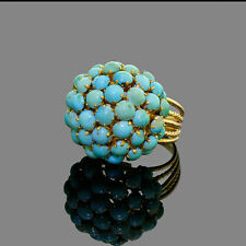 Vintage 14k Gold Persian Pale Blue Turquoise Cluster Cocktail Dome Ring 7.50 Gr