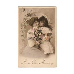 Mother And Daughter Original Antique Photo Postcard