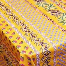"""LE CLUNY, OLIVES & MIMOSAS, YELLOW, PROVENCE COATED COTTON TABLECLOTH, 60"""" x 84"""""""