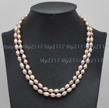 2 Rows Natural 7-8/8-9mm Purple South Sea Baroque Thread Pearl Necklace 17-18''
