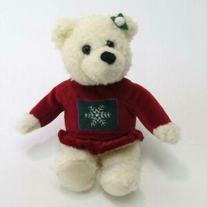 """Hallmark Teddy Bear 10"""" Plush Red Velvet Snowflake Dress White Stuffed Animal"""