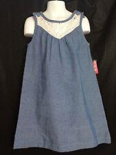 J. Khaki Blue Chambray 100% Cotton Jumper Sleeveless Dress Girls Sz 7 $38 New
