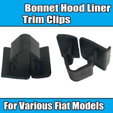10x Clips For Fiat Bonnet Hood Liner Trim Clips Various Models Black Plastic