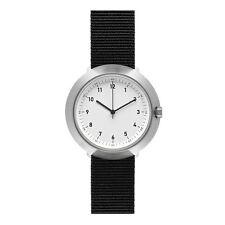 """Normal Timepieces """"Fuji"""" Quarzo Acciaio Bianco Nylon Nero Orologio Uomo Tessuto"""