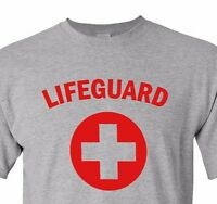 Lifeguard #2 T-shirt Red Gray White Tee Pool Staff Lifesaver Halloween Costume