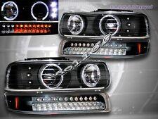 1999-2002 Chevy Silverado Black LED Headlights + LED Bumper Lights Twin Halo Rim