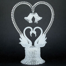 Swans Heart Hand Blown Glass Wedding Cake Top Topper
