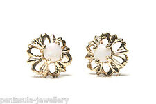 9ct Gold Opal Daisy Stud earrings Gift Boxed studs Made in UK Xmas Christmas