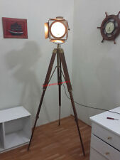 ANTIQUE BRASS FINISH DECO SEARCH LIGHT STUDIO LAMP SPOT LIGHT W /ANTIQUE TRIPOD