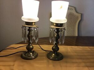 Vintage Pair Of Brass Lusters Lamps For Table Mantle