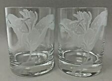 Perry Coyle Etched Glass Tumblers, Set of 2, Lifelike Daylilies, Signed Crystal