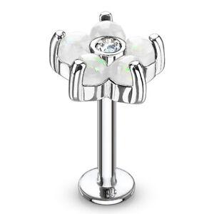 16g Gem Stainless Steel Labret Lip Monroe Tragus Ring Stud Medusa Piercing
