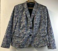 Talbots Womens 18 Petite Jacket Blazer Blue Floral Long Sleeve 100% Cotton