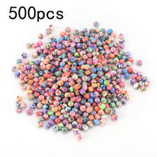 500pcs 6mm mixed flowers polymer fimo clay round diy findings loose beads JFAU