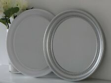 Oval Silver / Grey White Antique Vintage Decorative Ornate Wall Mirror