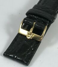 OMEGA 18k Gold 16mm Buckle 18mm Black/Cognac Genuine Crocodile Strap