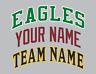 Custom Arched Team Name Lettering Tackle Twill Pro Cut for Uniform Jersey Shirt