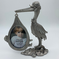 Stork with Baby Bundle - Pewter Picture Frame Newborn Boy Girl Gift