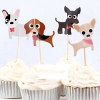 12x Dog Puppy Doggie Food Cupcake Food Topper Pick Party Lolly Loot Bag Pet Vet