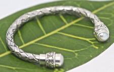 Handmade Sterling Silver .925 Bali Weave/Swirl Style Cuff w 2x Mabe Pearl.